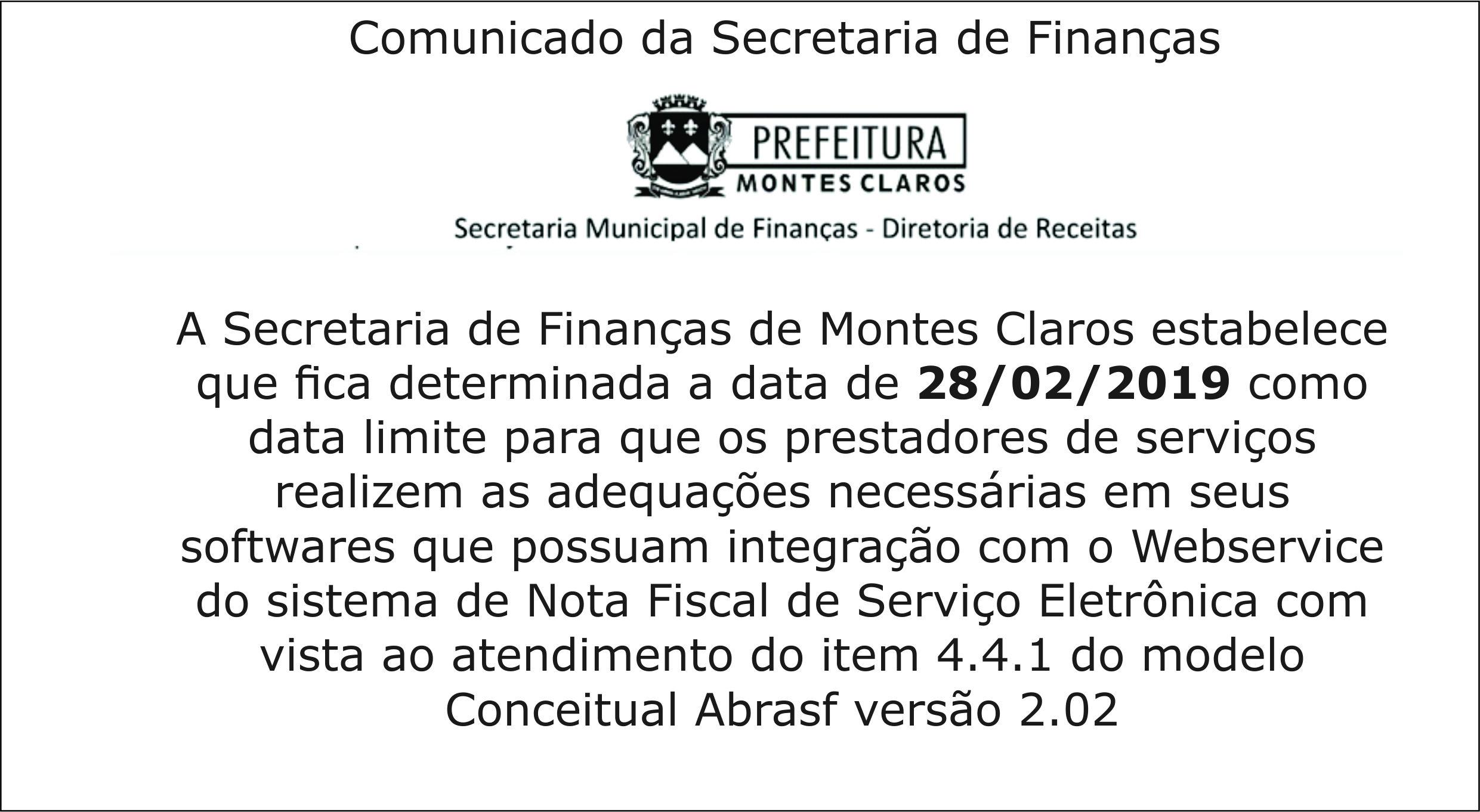 Comunicado da Secretaria de Finanças