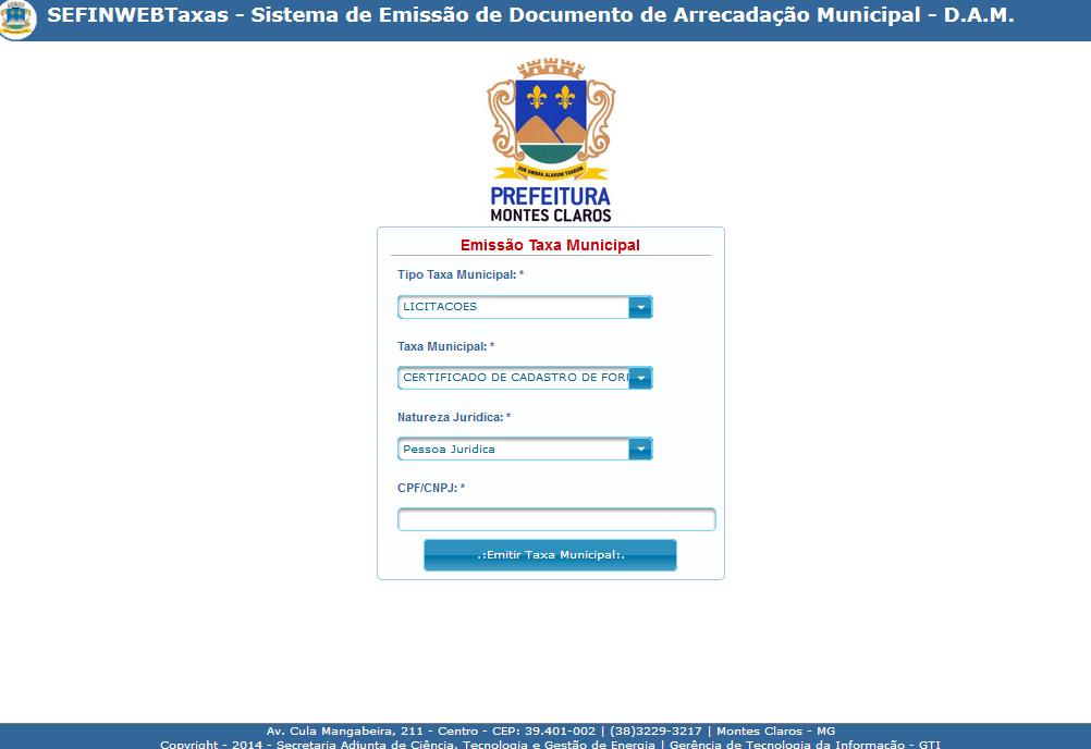 imagem da tela do sistema sefin taxas
