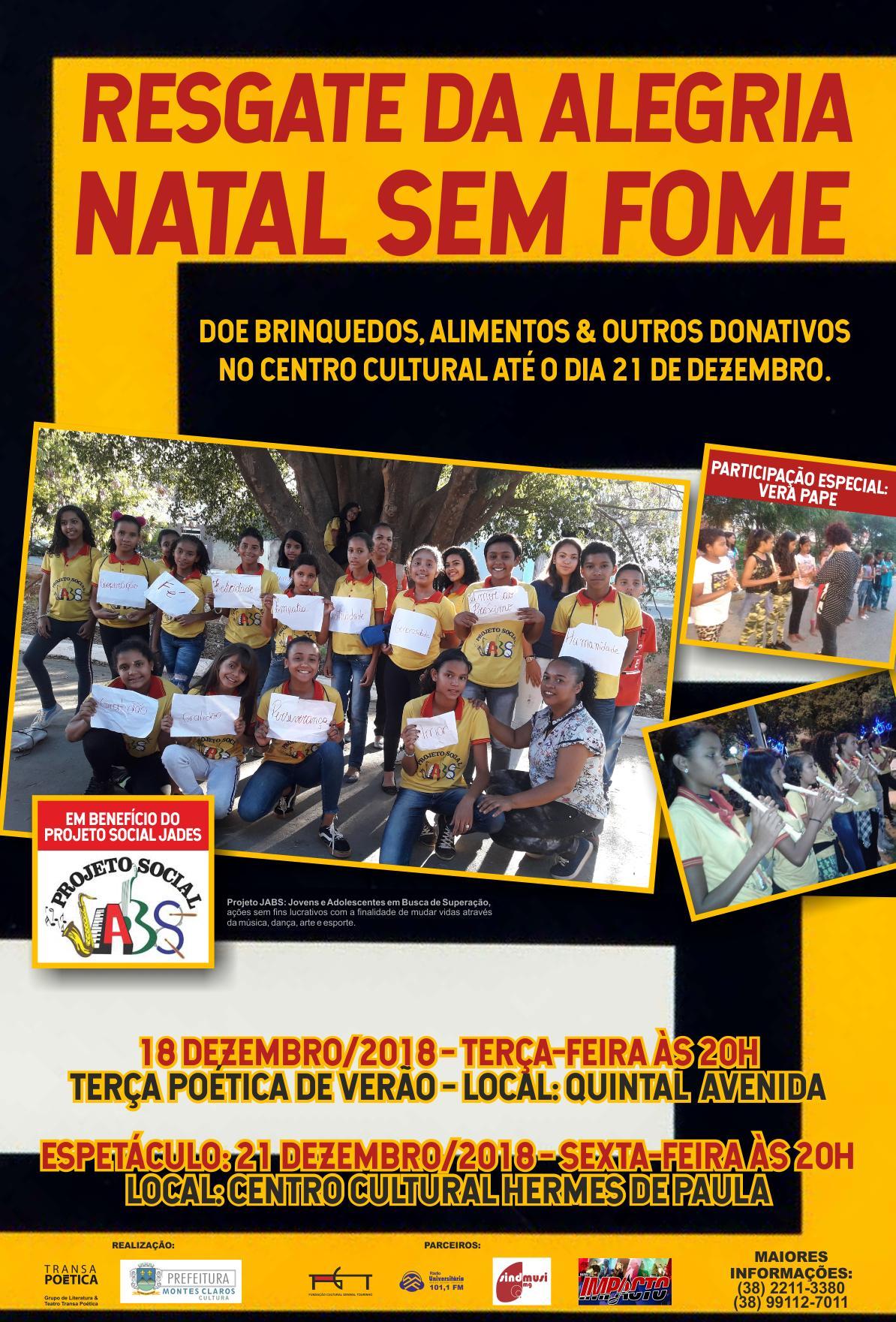 """Imagem de destaque """"Resgate da Alegria – Natal Sem Fome""""  - Doações para a campanha solidária podem ser feitas no Centro Cultural"""