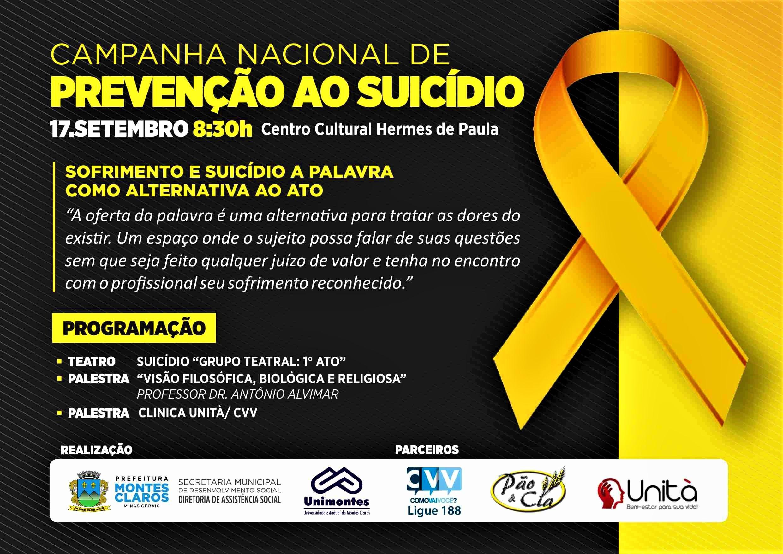 Imagem de destaque Setembro Amarelo - Evento vai debater ações de prevenção ao suicídio em Montes Claros