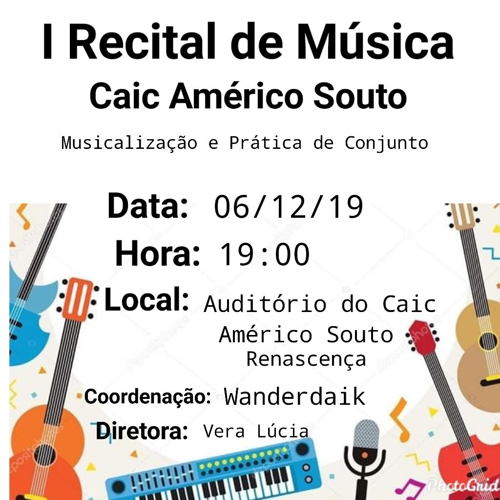 Imagem de destaque 1º RECITAL DE MÚSICA DO CAIC AMÉRICO SOUTO -  Alunos realizam apresentação musical nesta sexta