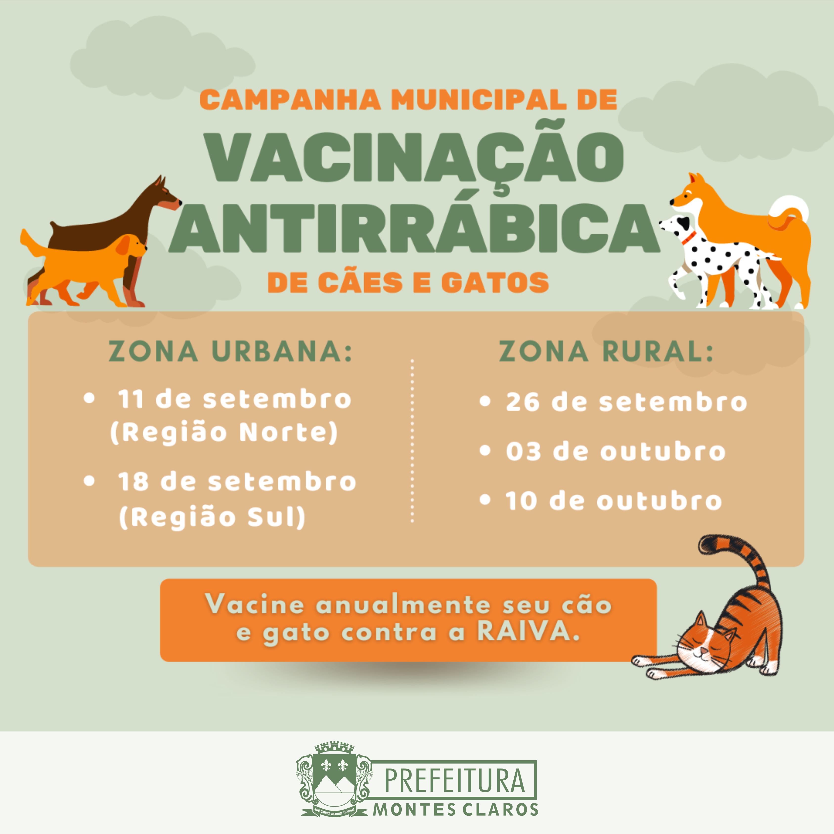 Imagem de destaque RAIVA - Campanha de vacinação de cães e gatos começa em setembro em Montes Claros